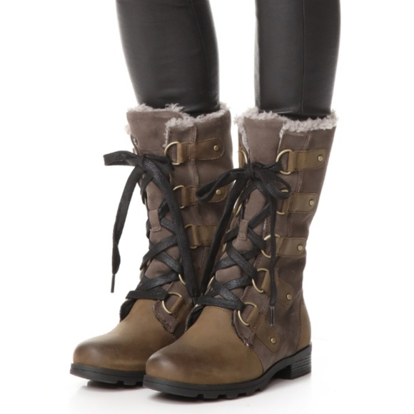 d29682446a2 Sorel Emelie Lace Up Boots Olive Green 10